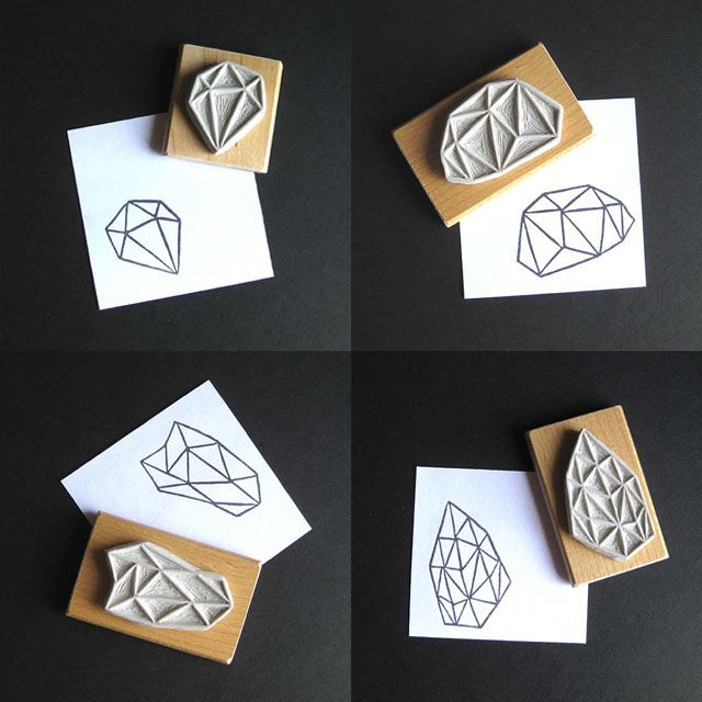 Hand carved geometrical stamps this womans etsy shop is