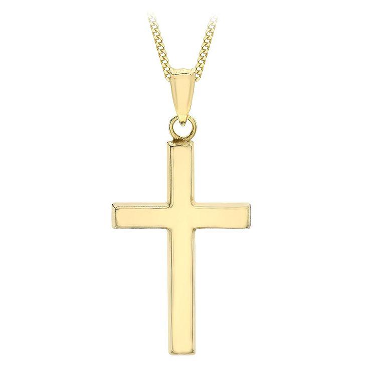 9ct Gold Cross Pendant - 24mm x 40mm - Includes Jewellery presentation box GHVDIYFCsL