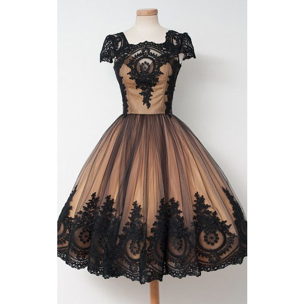 Black Nude Ball Gown Sleeveless Tea Length Square Neckline Tulle... ($149) ❤ liked on Polyvore featuring dresses, nude lace dress, sleeveless lace dress, homecoming dresses, lace dress and tea length dresses