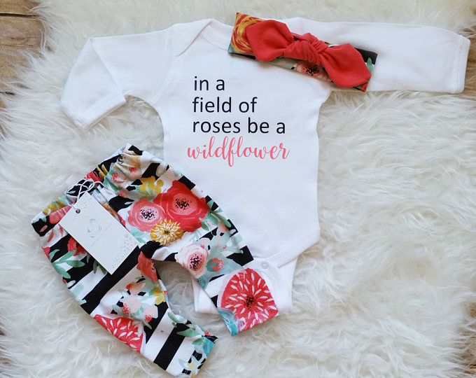 Baby Girl Clothes Newborn Baby Girl Wildflower Outfit Birthday Girl Outfit Photo Prop Take Home Outfit Baby Shower Gift New Baby Gift