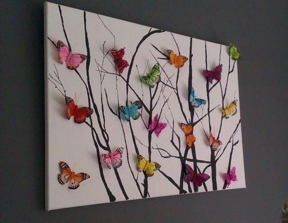 Zelfgemaakt kleurrijk schilderij met vlinders: