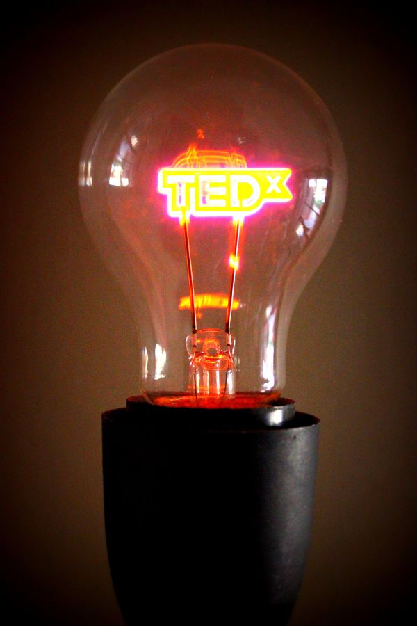 #tedxsummit gift: lamp bulb with #TEDx LOGO