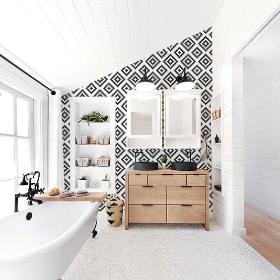 Scandi boho removable wallpaper in black Bathroom