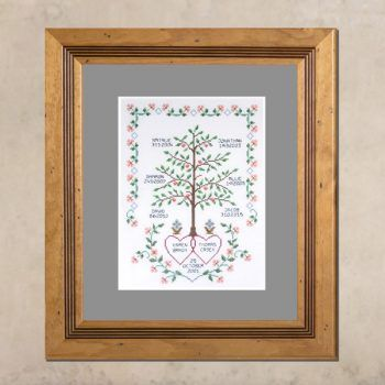 Celebrate your family with this heirloom inspired hand embroidered family tree. Vibrant greens, corals and blues combine harmniously with earthy russets and browns to create a very eye-catching design.