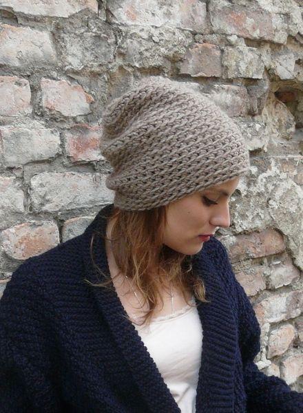 Mütze Mila aus Merino mit Alpaca Hellbraun von chocolate berlin auf DaWanda.com