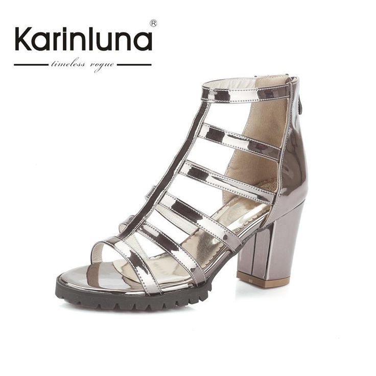 2016 sale big size 33-45 summer sandals leisure zip up rome style sqaure med heels fashion black white silver women shoes