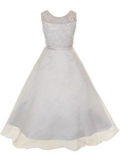 baf1c0ca9c40 Kids Dream White Pearl Satin Organza Communion Dress Girl 4-14 - Walmart.com