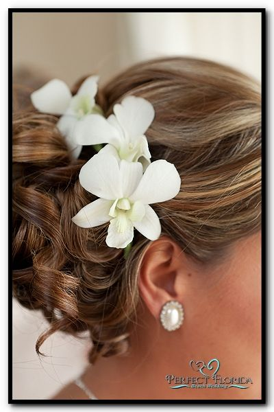 Simple Beach Wedding Hair with Flowers. Hair by #  Camposecco Artistry