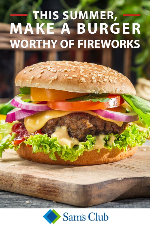 "The fireworks aren't the only thing that deserves attention this holiday. This year, put a little T.L.C. on your shopping list and buy the best possible hamburger ingredients right from Sam's Club! Sam's Club has everything you need to set the stage for a hamburger presentation that's bound to turn heads. Don't be surprised if you get crowned ""Resident BBQ Chef"" for cookouts to come. Check out samsclub.com or stop by a location to see the selection."