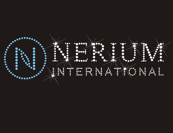 Nerium Clear and Light Aqua Rhinestone Hot Fix Transfer Logo