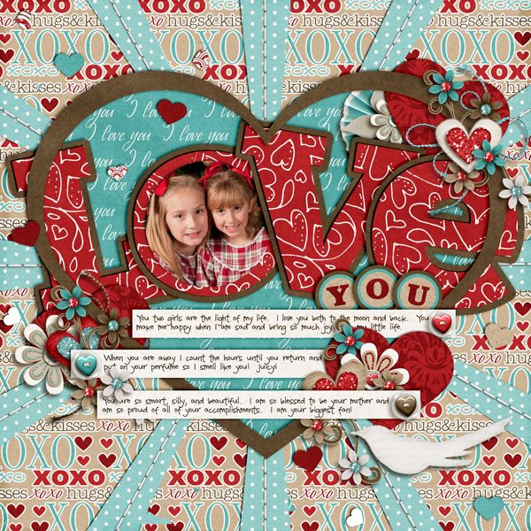 "So Creative Love You Page...love the circle photo in the letter ""O"" & the heart...Scrapbook.com."