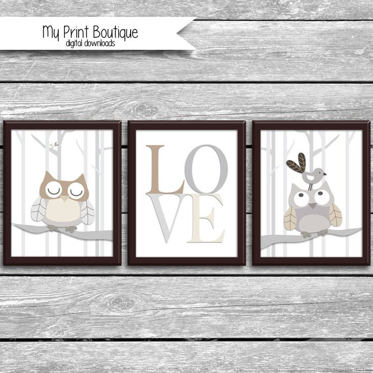 Set of 3 8x10 Inch Baby Night Owl Prints - Coordinates With Levtex Crib Bedding - LOVE Woodland Tree Owls - Bird Forrest Digital Downloads by MyPrintBoutique on Etsy