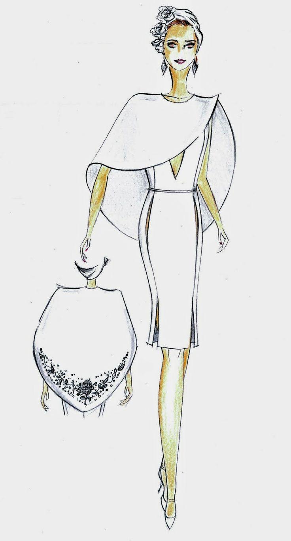 Dessins de mode: Robe blanche de ligne moulée, encolure en V avec d... | Dessin mode | Pinterest ...