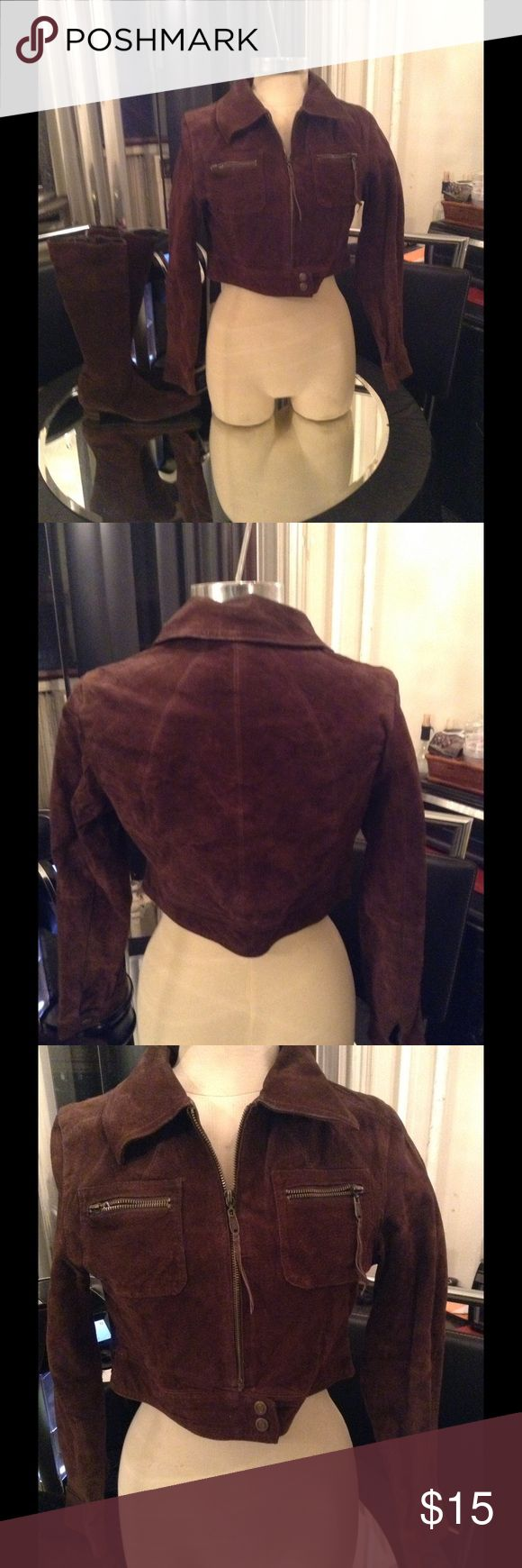 Brown suede Jacket NWT great jacket helium Jackets & Coats
