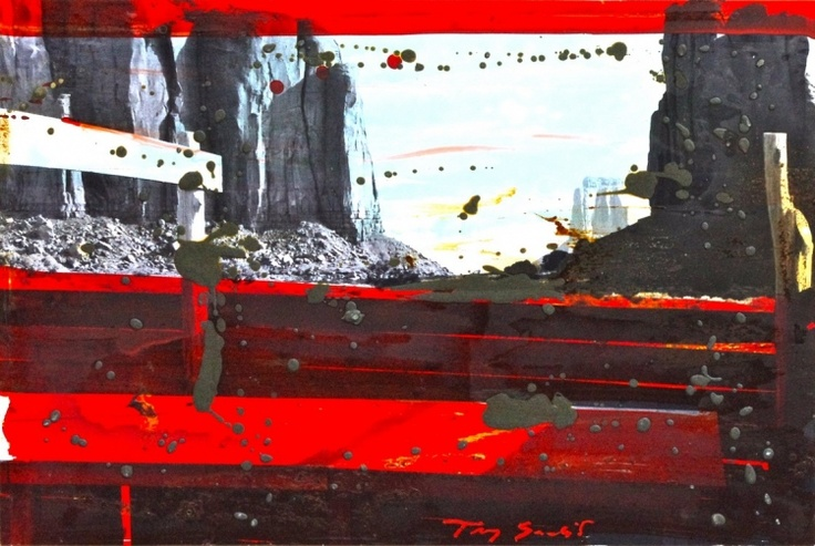 """""""Arizona rouge, 2010"""" by Tony Soulié -  Mixed technique on wood 60 x 90 cm #Arizona #photograph #painting #Soulier"""