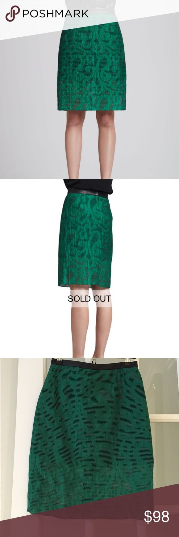 NWOT Tibi damask green pencil skirt Tibi Damask Jacquard Pencil Skirt. never worn. beautiful green. picture doesn't do justice. The skirt looks exactly like the model pic when on. make an offer! Tibi Skirts Pencil