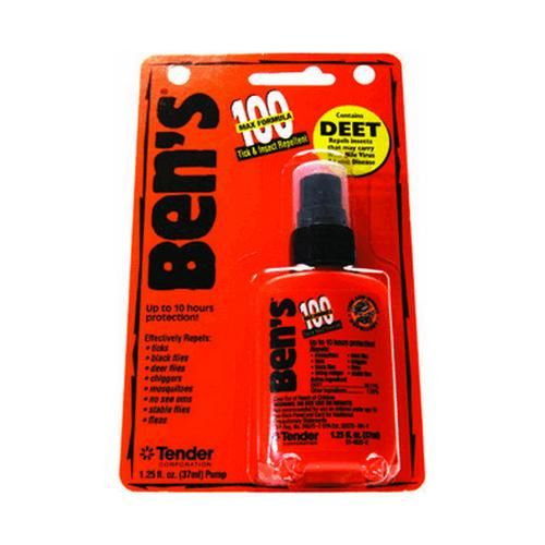 Bens - 100, 1.25 oz Pump, Per 1 Outdoor Store Bens – 100, 1.25 oz Pump, Per 1 Manufacture ID: 0006-7070 Ben's 100 MAX Tick & Insect Repellent contains the maximum amount of DEET for use in areas of high bug density with intense biting activity. For use when other insect repellents just won't cut it, Ben's 100 MAX provides up to 10 hours of protection from ticks and insects that may carry ... https://campgear.co/shop/uncategorized/bens-100-125-oz-pump-per-1-gs100054/