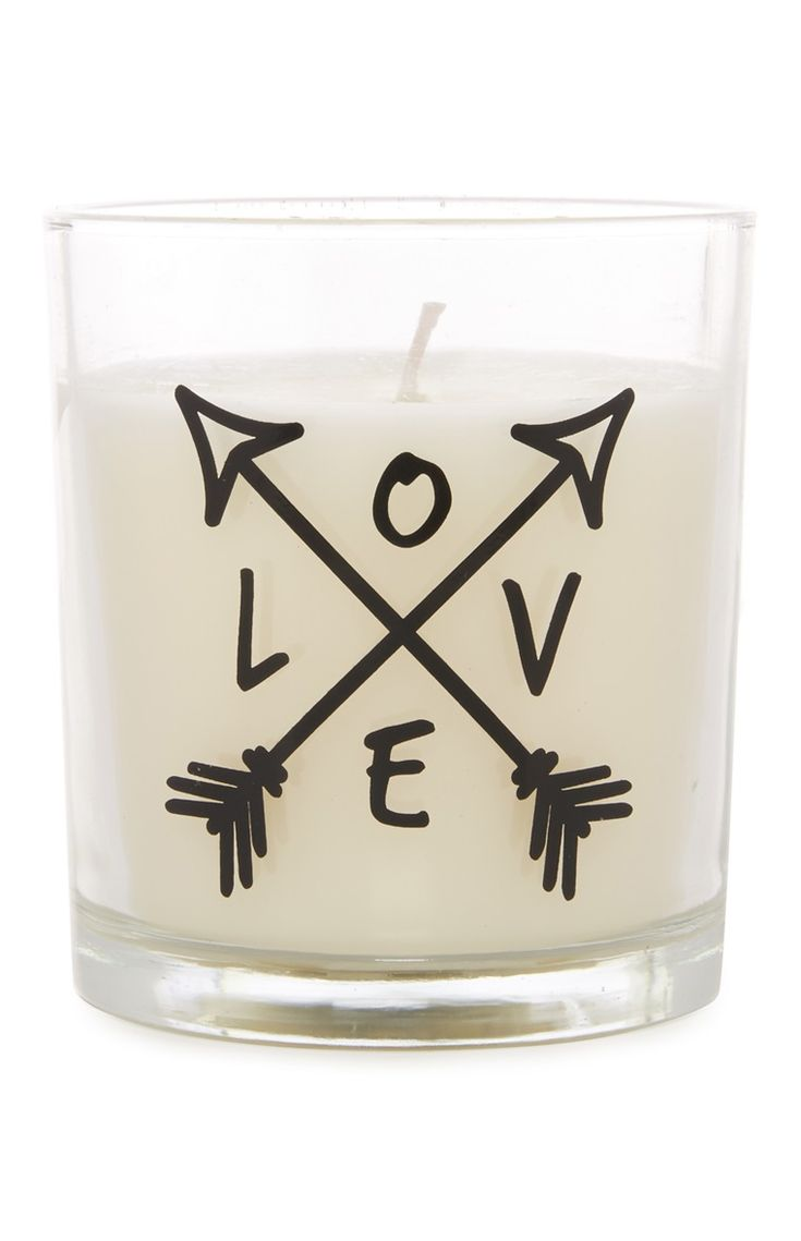 Love Slogan Glass Candle