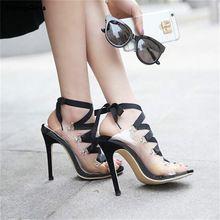 HiHopGirls 2017 nouvelles femmes pompes Sexy transparent sangles croisées poissons avec des talons hauts sandales cheville sangle pvc dentelle-up sexy chaussures(China)