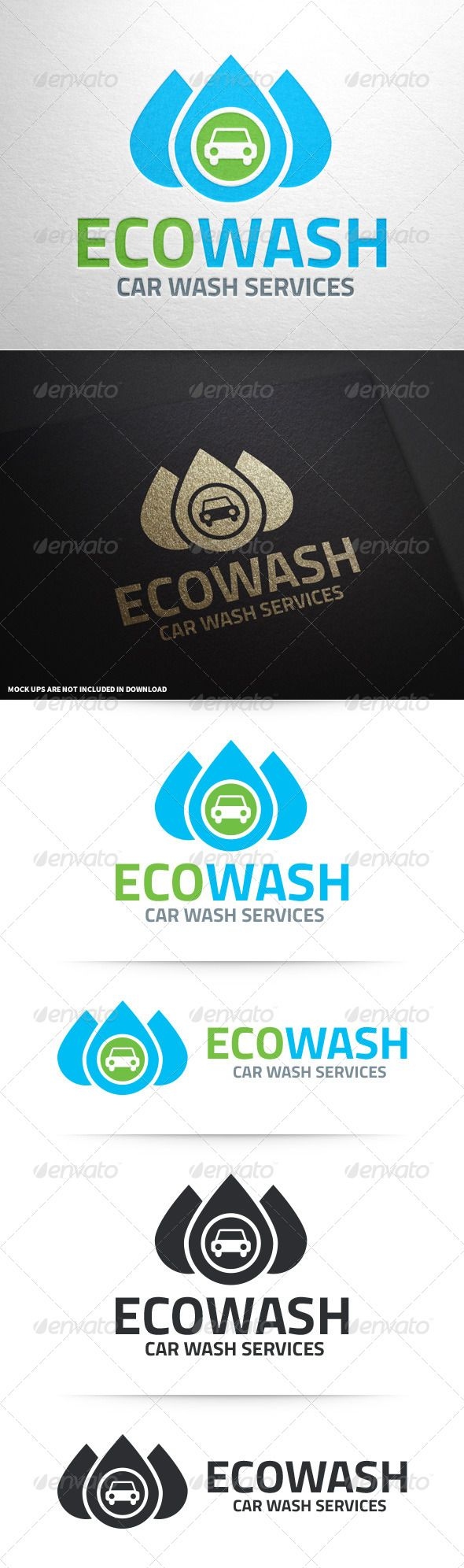 Eco Car Wash Logo Template — Vector EPS #blue #nature • Available here → https://graphicriver.net/item/eco-car-wash-logo-template/8654677?ref=pxcr