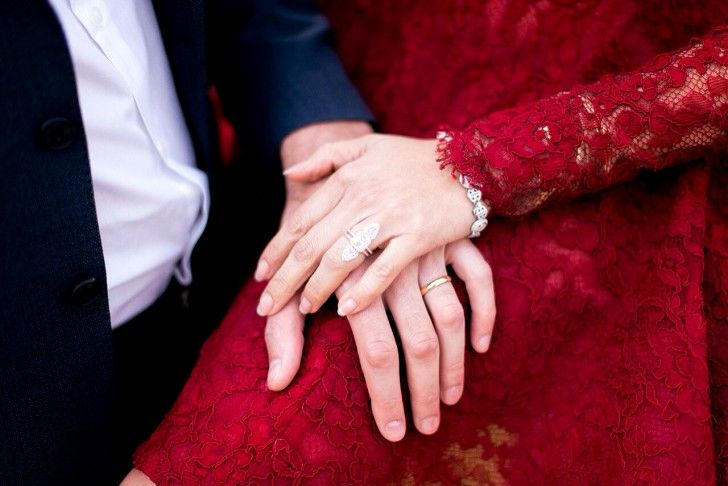 Red Elopement Dress, from the Ultimate Fashion Industry Engagement Stories - The Coveteur
