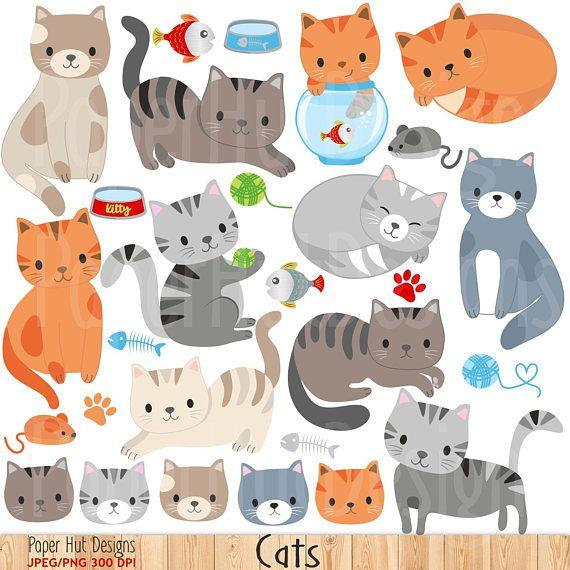 Cat Clipart Cute Cat Clip Art Kitties Clipart Kitten Etsy In 2021 Cat Clipart Art Drawings For Kids Clip Art