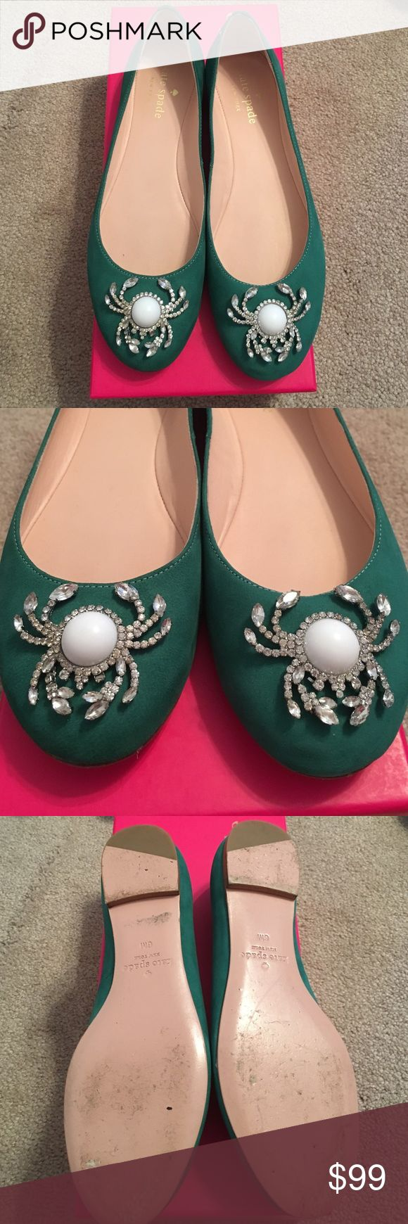 Kate Spade Teal Flats Kate Spade Teal Crab Embellished Flats. Worn once for a family photo. They look brand new except for minor wear on the sole. Offers welcome kate spade Shoes Flats & Loafers