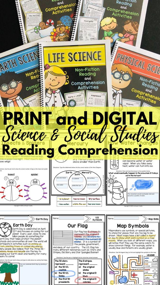 Reading Comprehension Mega Bundle Science Social Studies Distance Learning In 2020 Reading Comprehension Reading Curriculum Social Studies Nonfiction reading comprehension social