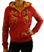 Ed Hardy by Christian Audigier Faux Fur Women's Hoodie Sweatshirt