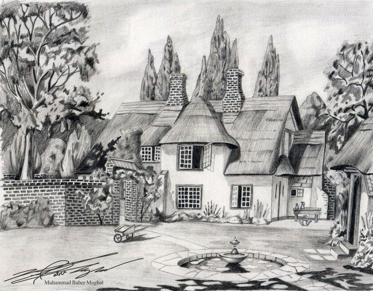 House sketches pencil sketches of nature scenery