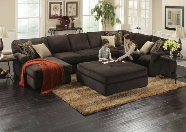 deep sectional feather cushion ottoman | Great Modern Sectionals for Any Size Family | The RoomPlace