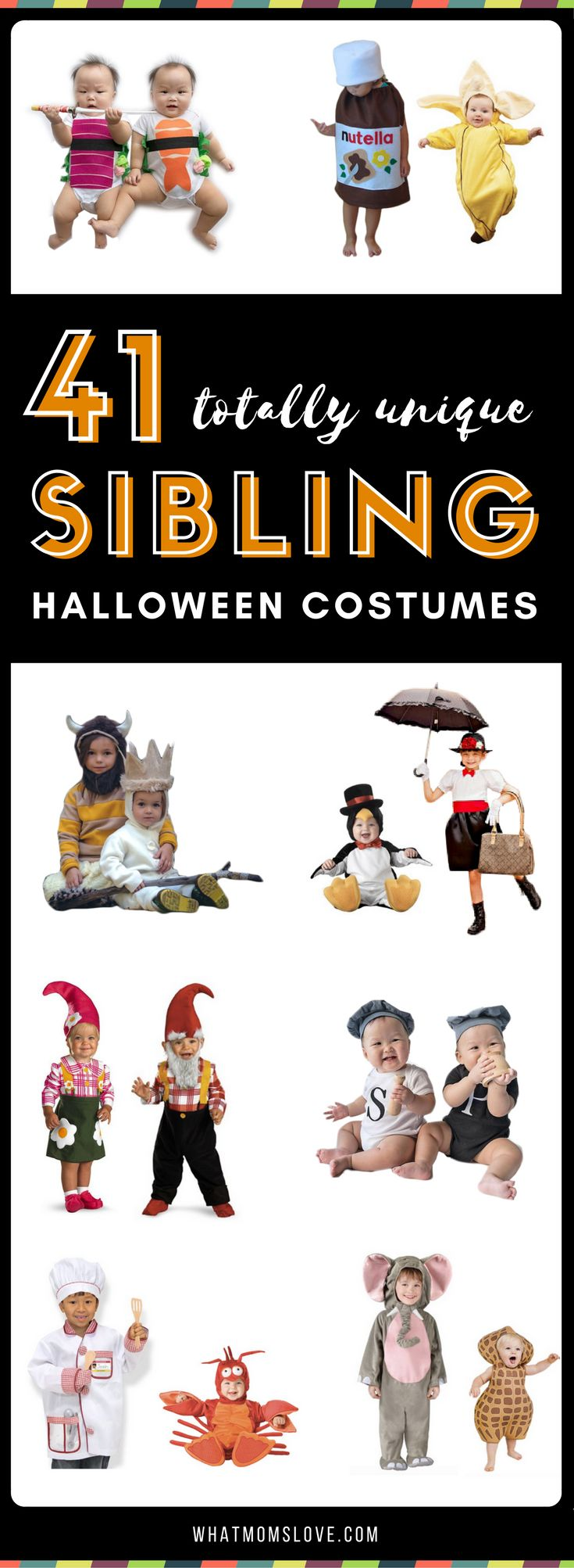 Sibling Costume Ideas for Halloween | Creative costumes for kids - perfect for families looking to coordinate their sisters, brothers, boys and girls | Unique group ideas for 2, 3 and more kids! No DIY required! #halloween #halloweencostume #sibling #costumeideas