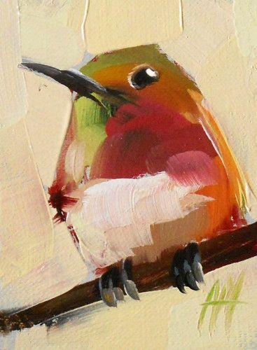 Hummingbird No 33 Original Bird Oil Painting by Moulton ACEO
