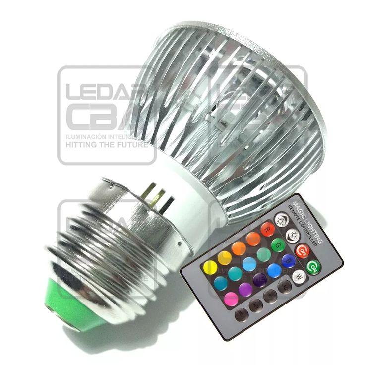lampara dicroica led rgb 3w e27 220v control remoto calidad