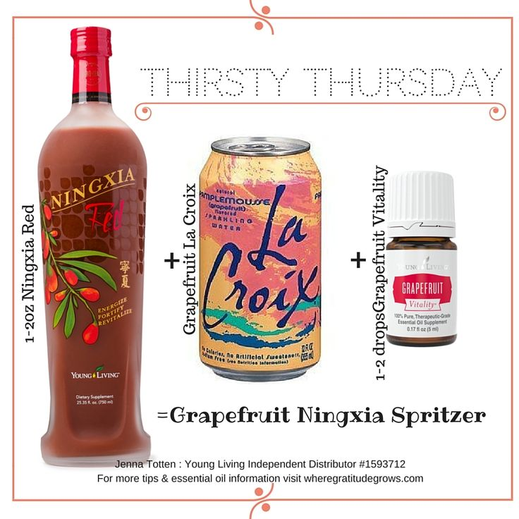 Grapefruit Ningxia Spritzer using Grapefruit Vitality essential oil, Ningxia Red & Grapefruit La Croix!