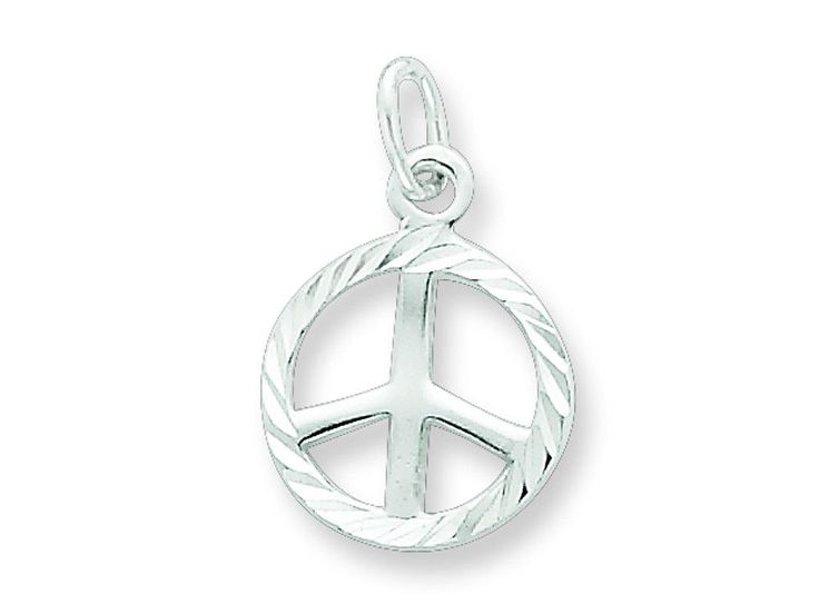 Sterling Silver Bright-cut Peace Sign Symbol Charm
