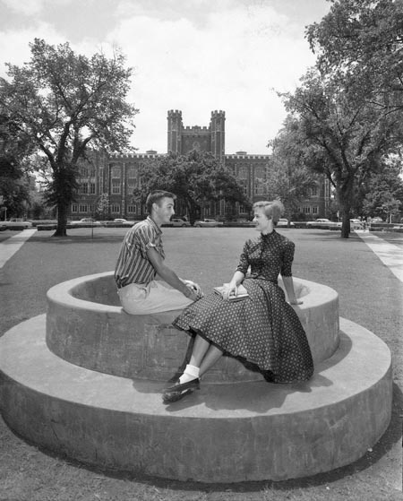 Spoonholder at the University of Oklahoma ~ it's said if you and the one you're dating sit here, you'll marry.