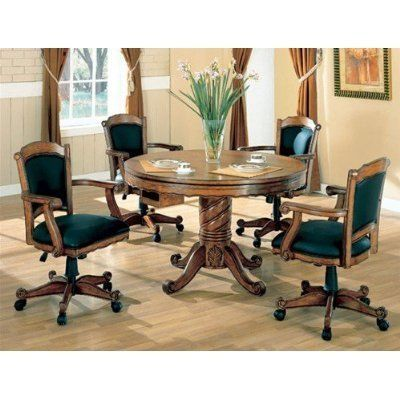 """5pc 3-in-1 Game Dining Table & Arm Chairs Set Oak Finish by Coaster Home Furnishings. $1506.85. Some assembly may be required. Please see product details.. You will receive a total of 1 3-in-1 poker/ pool/dining table and 4 side/game chairs. Table: 48"""" Diameter x 31""""H Chairs: 24""""L x 24""""W x 37""""H Finish: Oak, Black Material: Wood, Fabric 5pc 3-in-1 Game Dining Table & Arm Chairs Set Oak Finish Table features single pedestal leg, multi-purpose function which excellent fo..."""