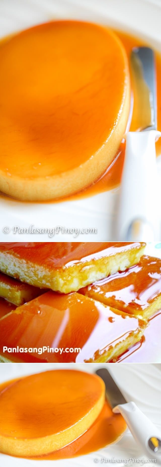 Leche Flan (also known as crème caramel and caramel custard) is a dessert made-up of eggs and milk with a soft caramel on top. This dessert is known throughout the world (especially in Europe) and has been in the dessert menu of most restaurants because of its convenience in preparation and long shelf life.