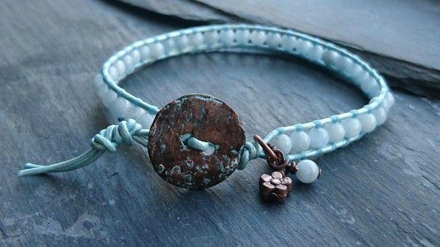 Aquamarine and leather beaded bracelet, March birthstone £12.00
