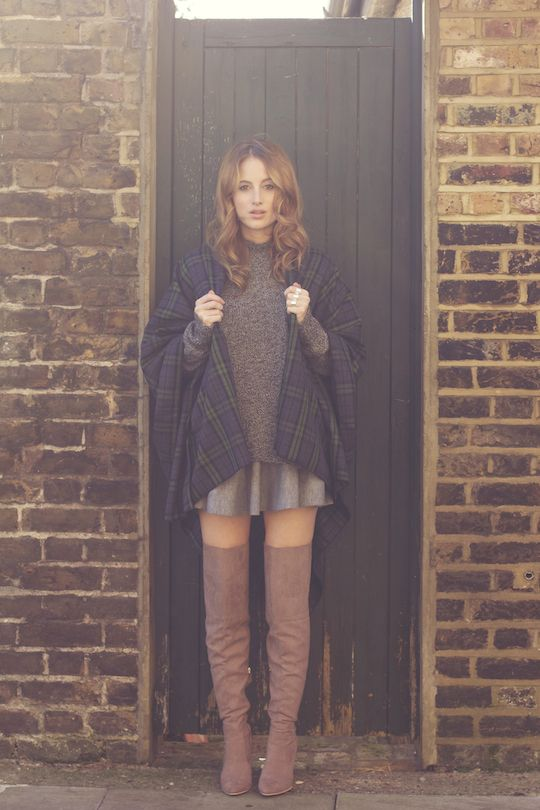Jumper: MiH from Iris Fashion Boutique Skirt: ASOS Cape: AX Paris Rings: COS Thigh High Boots:...