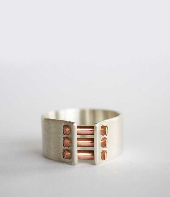 Industrial band ring- cigar band ring- modern wedding ring- men's ring- two tone ring- sterling silver with copper or brass- oxidized ring by leahstaley on Etsy https://www.etsy.com/listing/184775631/industrial-band-ring-cigar-band-ring