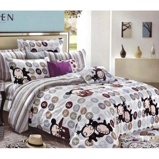 Sivá obliečka na detskú posteľ s kreslenými postavičkami