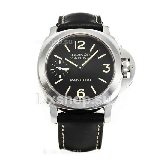 Panerai Luminor Marina Manual Winding Black Dial with Black Leather Strap Same Chassis as the Swiss Version-1 - Click Image to Close