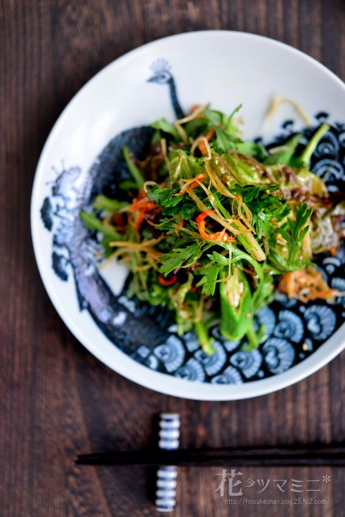 春菊の金平牛蒡サラダ - Syungiku and Kinpiragobo Salad.