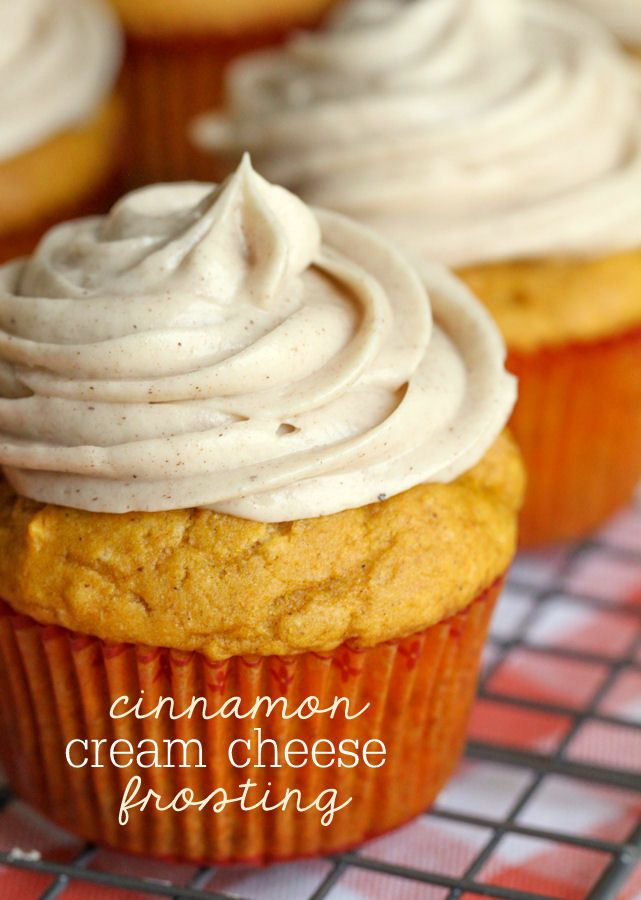 Pumpkin Cupcakes with Cinnamon Cream Cheese Frosting!