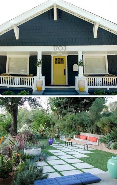 shelter and shine: exterior inspiration. Yellow front door against charcoal external walls.