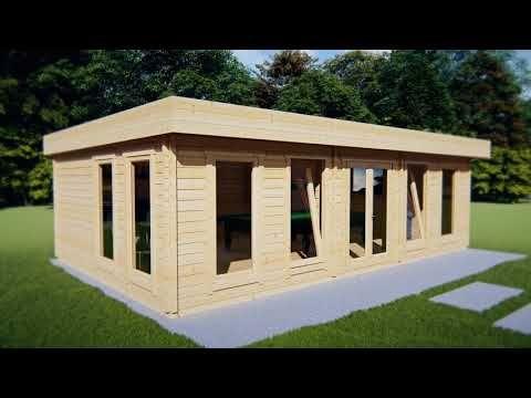 Großes Holzhaus Hansa B 38m2 / 70mm / 8x5m YouTube