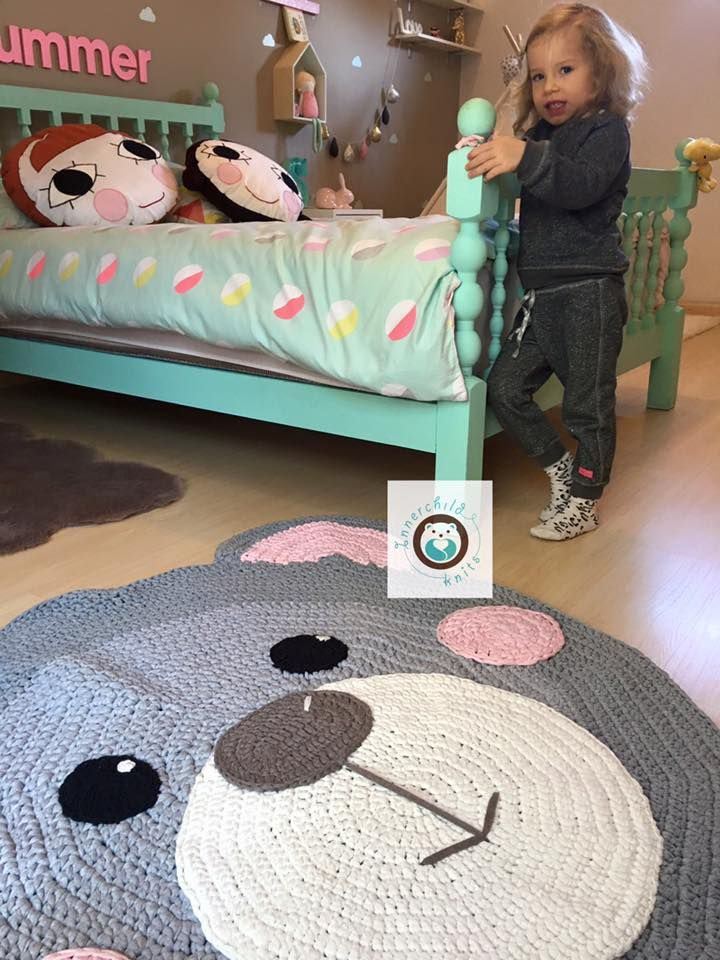 Cutest bear rug by Klaire De Rochefort Blesovsky‎! I love the look of chunky t-shirt yarn & these sweet rosy cheeks!  Pattern from: https://irarott.com/Bear_Nursery_Rug_Mat_Crochet_Pattern.html