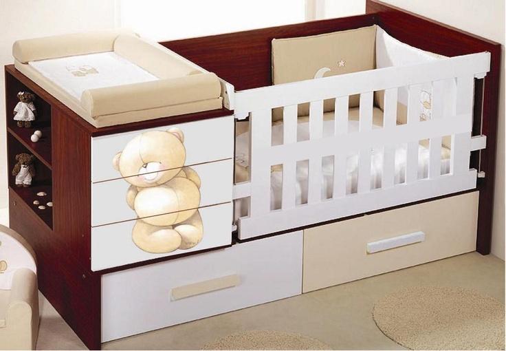 Cama cuna oso cama cunas cunas de madera bebe for Cunas para bebes de madera